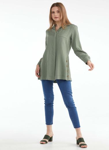 Sementa Kadın Düğme Detaylı Tunik Gömlek  Yeşil